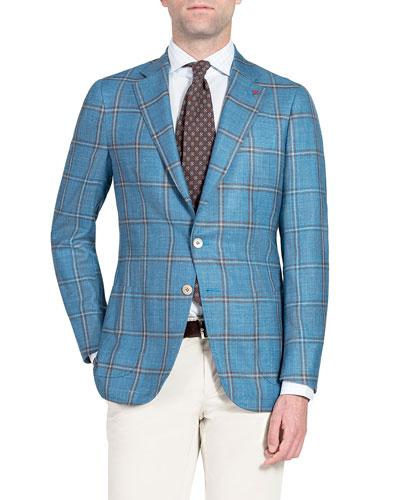 Men's Wool-Blend Windowpane Check Sport Jacket