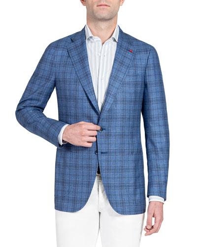 Men's Plaid Silk-Cashmere Sport Jacket