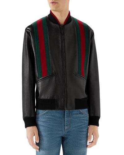 Men's Web-Striped Leather Bomber Jacket