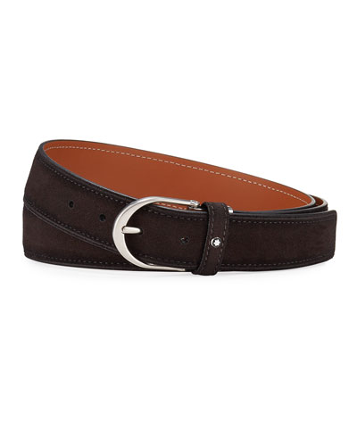Men's Horseshoe-Buckle Suede Belt