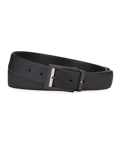 Men's Printed Leather Rectangle-Buckle Belt