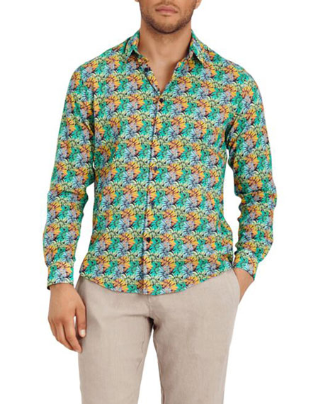 Men's Jungle-Print Sport Shirt