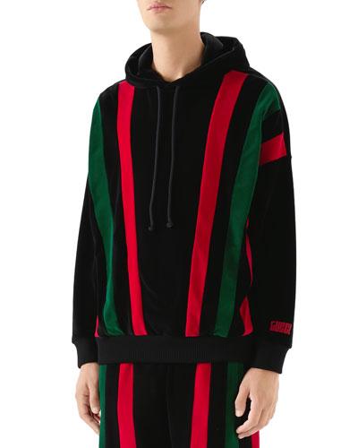 Men's Striped Velvet Hoodie Sweatshirt
