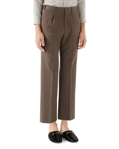 Men's Pleated Herringbone Cropped Trousers