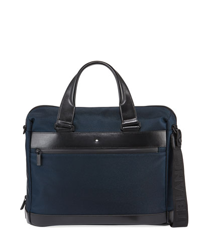 Men's Nightflight Nylon Briefcase w/ Leather Trim
