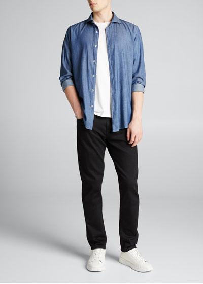 Men's Straight-Leg Dark-Wash Jeans