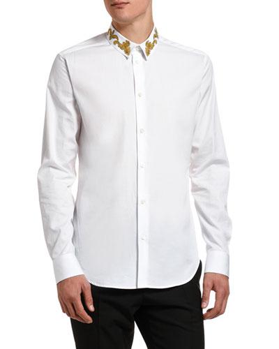 Men's Baroque-Collar Solid Sport Shirt