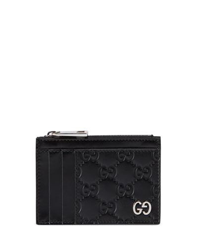 Men's GG Embossed Zip Card Case