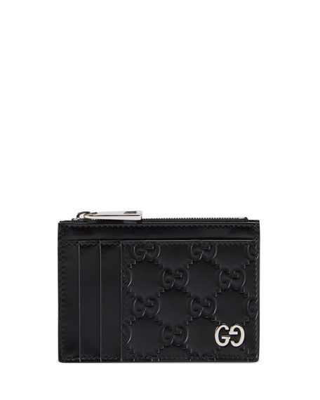 Image 1 of 1: Men's GG Embossed Zip Card Case