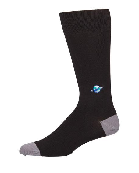 Men's Embroidered Planet Knit Socks