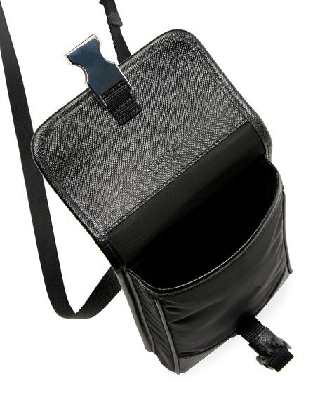 Men's Leather-Trim Crossbody Bag