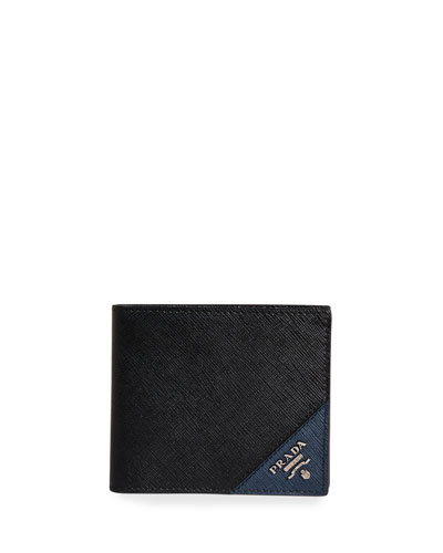Men's Saffiano Leather Contrast-Logo Wallet