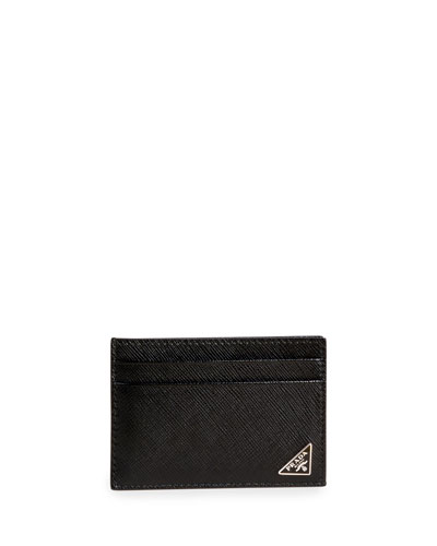 Men's Saffiano Leather Card Case with Money Clip