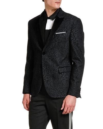 Men's Leopard-Flocked Denim Evening Jacket