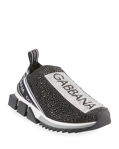 Men's Sorrento Crystal-Embellished Logo Knit Sneakers