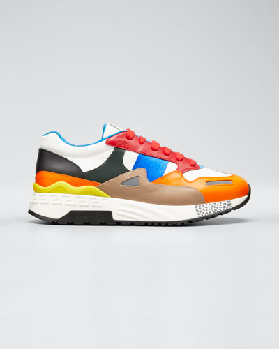 Men's Colorblock Leather Chunky Runner Sneakers