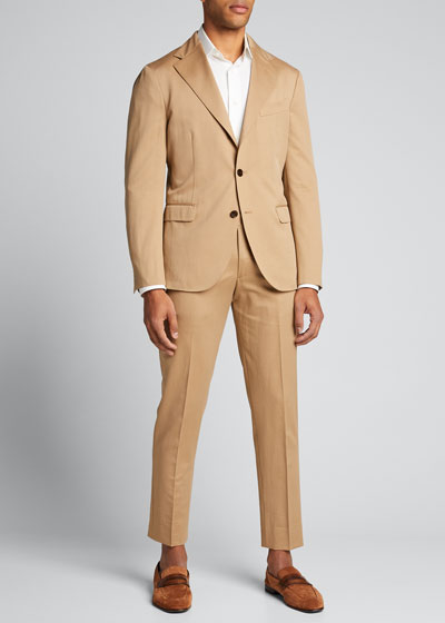 Men's Solero Solid Wool-Cotton Two-Piece Suit  Tan