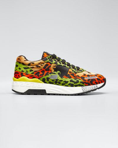 Men's Multicolor Leopard-Print Canvas Sneakers