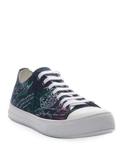 Men's Canvas Scritto Low-Top Sneakers