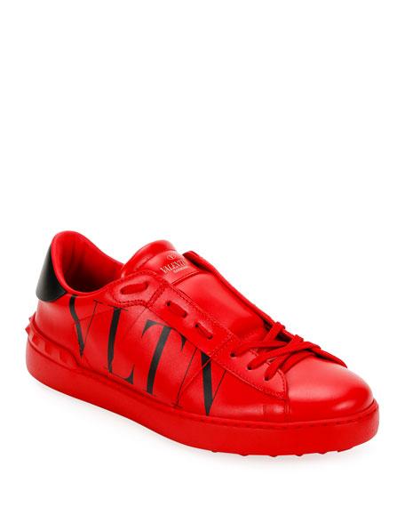 Men's Rockstud Walker VLTN Leather Sneakers