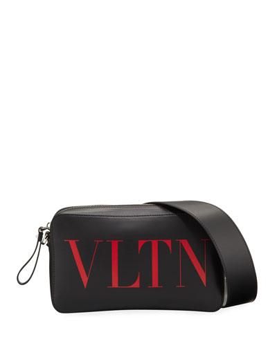 Men's Logo-Front Leather Belt Bag/Fanny Pack