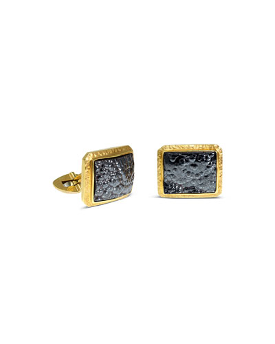 Men's 18K Yellow Gold Hematite Cufflinks