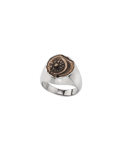Men's 18k White Gold Ancient Coin Signet Ring
