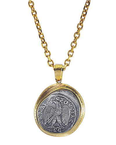 Men's Reversible Ancient Coin 18k Gold Pendant
