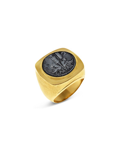 Men's Ancient Coin 18k Gold Ring