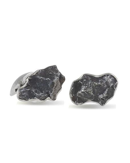 Men's Iron Meteorite 18k White Gold Cufflinks