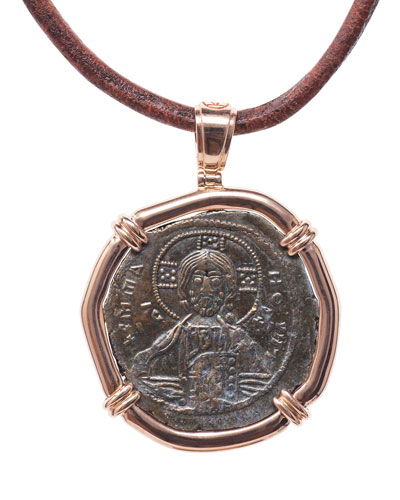 Men's 18k Rose Gold Ancient Coin Pendant