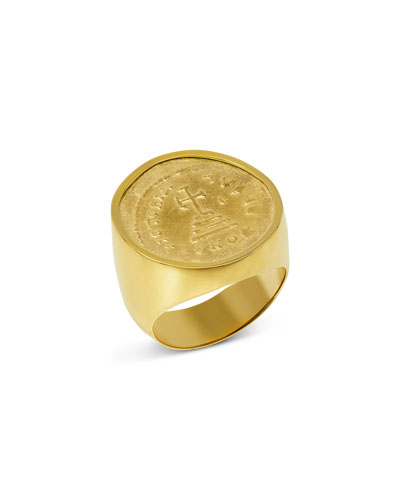 Men's 18k Gold Ancient Coin Signet Ring
