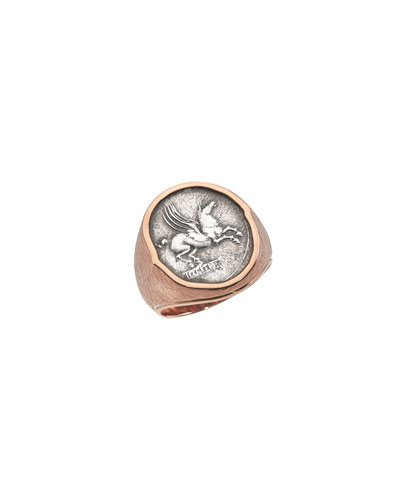 Men's 18K Rose Gold Ancient Pegasus Coin Ring