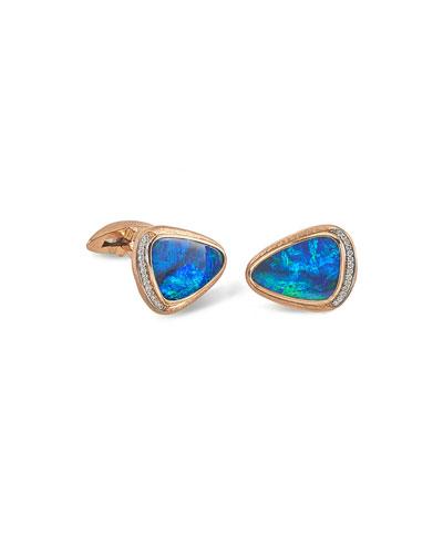 Men's 18K Rose Gold Opal Doublet Cufflinks w/ Diamonds