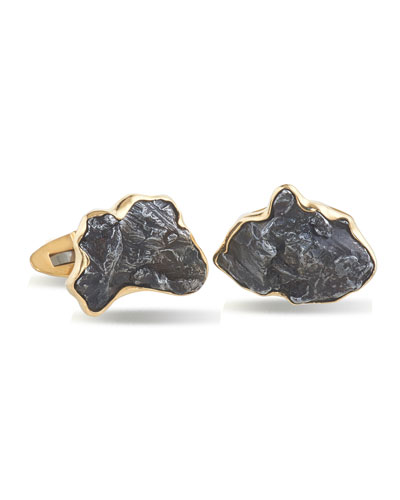 Men's Iron Meteorite 18k Gold Cufflinks