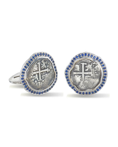 Men's Ancient Coin 18k White Gold Cufflinks