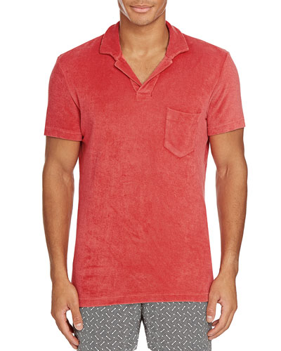 Men's Terry Towel Polo with Pocket