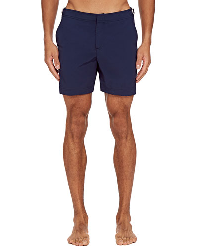 Men's Bulldog Applied-Side Stripe Swim Trunks
