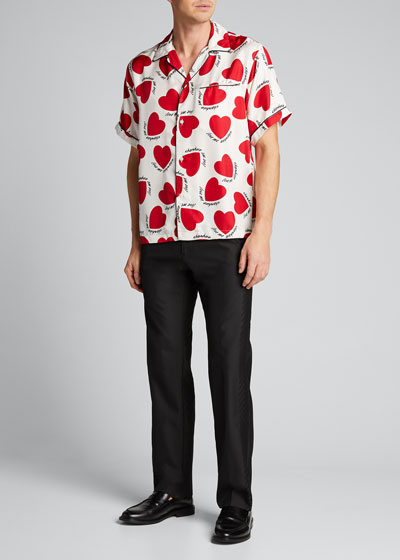 Men's Hearts Silk Pajama Shirt