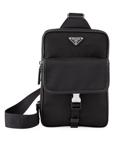 Men's Tessuto Saffiano Sling Backpack