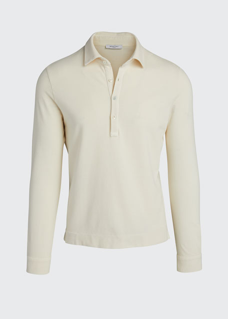 Men's Pique Long-Sleeve Polo Shirt