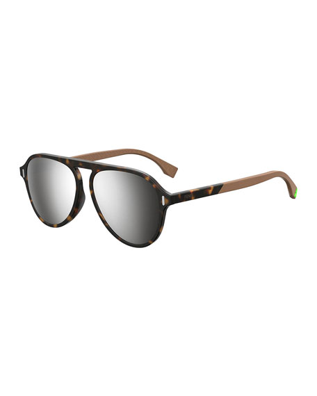 Men's Mirrored Tortoiseshell Aviator Sunglasses