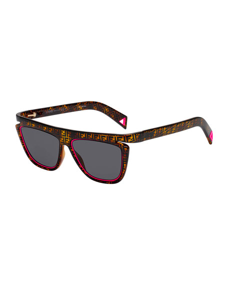 Men's FF Havana Fluorescent-Trim Sunglasses