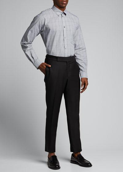 Men's Lightweight Glen Plaid Button-Down Shirt