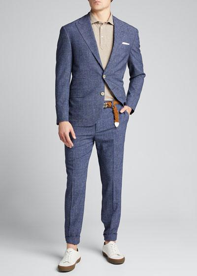 Men's Glen Plaid Peak Lapel Two-Piece Suit