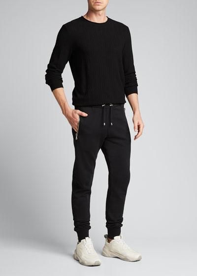 Men's Embossed Logo Zip-Pocket Sweatpants