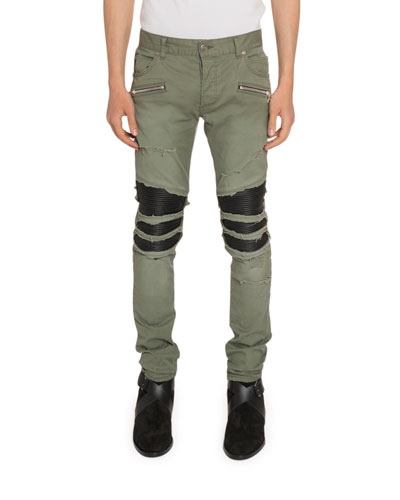 Men's Faux-Leather Inset Twill Pants