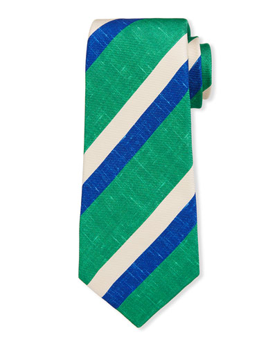 Men's Large Double-Stripe Silk Tie