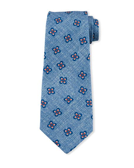 Four-Petal Floral Silk Tie