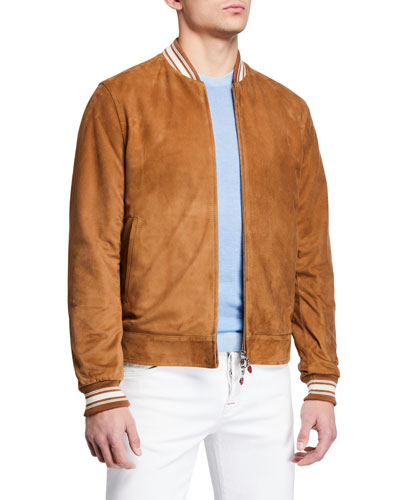 Men's Reversible Suede Bomber Jacket